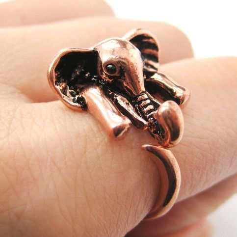 Miniature African Elephant Animal Wrap Ring in Shiny Copper Sizes 6 to 10.5 from DOTOLY