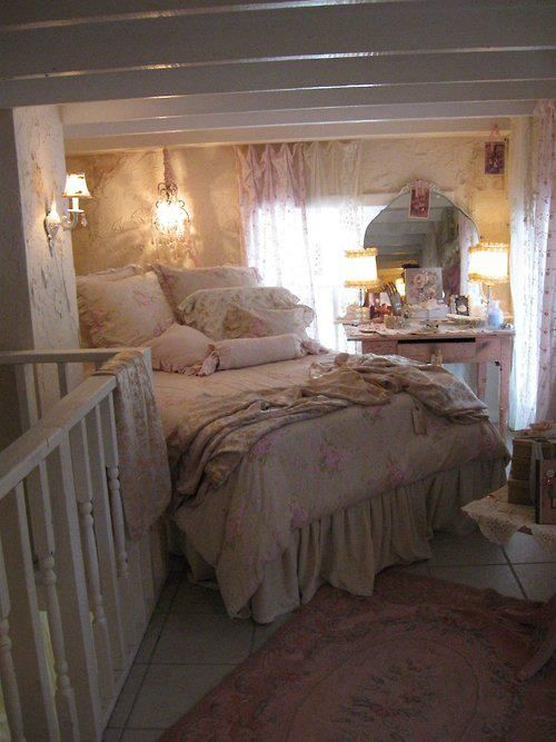 Shabby Chic..there are days when I'd love to just go to this little spot and curl up under the covers..