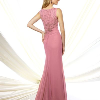 O-neck tank beaded mermaid long chiffon sexy pink mother dresses for  wedding…
