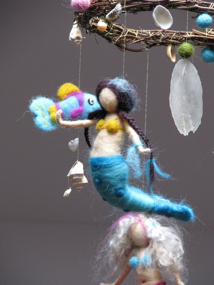 Mermaids and the ocean needle felted mobile. $145.00, via Etsy.