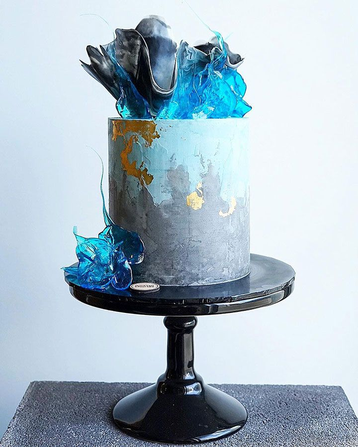 Contemporary Wedding Cakes by Don't Tell Charles ~ concrete buttercream watercolor cake with chocolate sail and isomalt topper