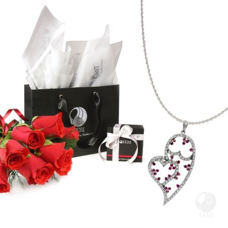 Global Wealth Trade Corporation - FERI Designer Lines Gift Package  for her Includes: - 1 FERI Romeo's Desire Pendant - 1 FERI Silver Chain [5195] - 1 Small FERI Gift Bag - 1 FERI Pendant Jewelry Box - Tissue Paper - FERI Ribbon   Have a very Happy Valentines day!  http://bit.ly/23MnTMs