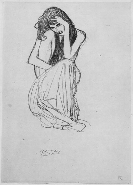 "Study for the figure ""Gnawing Sorrow"" in the Beethoven Frieze  The Beethoven Frieze is a painting by Gustav Klimt. 1902"