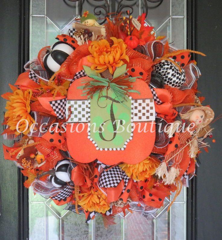 Fall Wreath, Fall Door Hanger, Fall Decoration, Front door wreath, Wreath for…