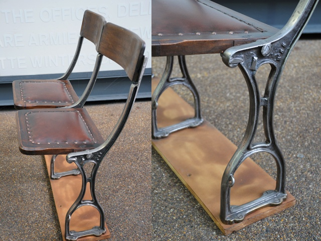 Antique Flip Up Seats. Cast Iron Stands With Oak Backs And Reupholstered  Studded Leather