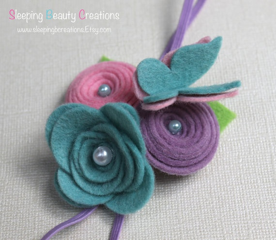 Dream in Pastels Wool Felt Flower and by sleepingbcreations, $10.00
