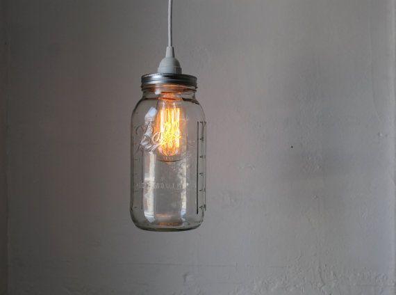 Half Gallon Mason Jar Light Ball Mason Jar Pendant by BootsNGus, $36.00