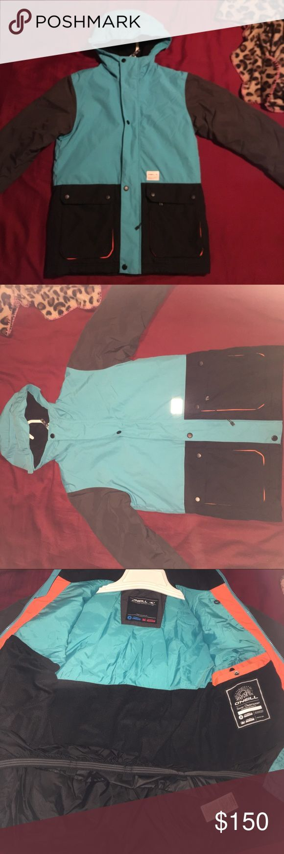 Teal, black & gray Snowboarding Jacket Insulated, waterproof snowboard jacket worn once. Super warm. Boyfriend bought it but it turned out to be too small for me. It has 2 outer pockets and 2 inner pockets. Both zip and Velcro to keep your things safe. O'Neill Jackets & Coats