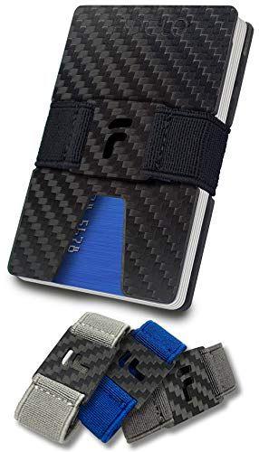 FIDELO Carbon Fiber Minimalist Wallet – Slim RFID Credit Card Holder Money Clip for Men