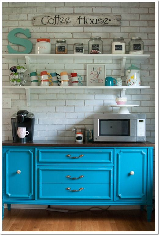 turquoise hutch / coffee bar- I think I want to do this when the house is built. I would have my traditional pot, my French press, all my mugs collected over the years, and All the fixings! Fun stuff !