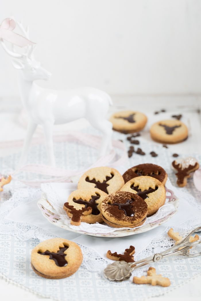 butter cookies with coffee ganache filling