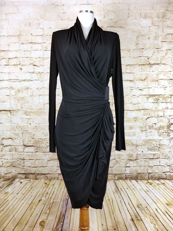 All Saints Spitalfields Swinton Black Long Sleeve Wrap Ruched Dress UK12 US8 M  #AllSaints #DrappedWrapDress #LittleBlackDress
