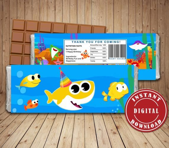 Instant Download Baby Shark Chocolate Wrappers Digital Candy Bar