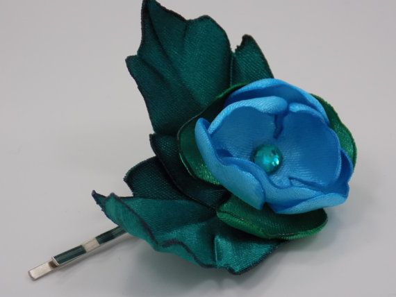 Handmade satin flower hairpin by GinaKittysJewels on Etsy