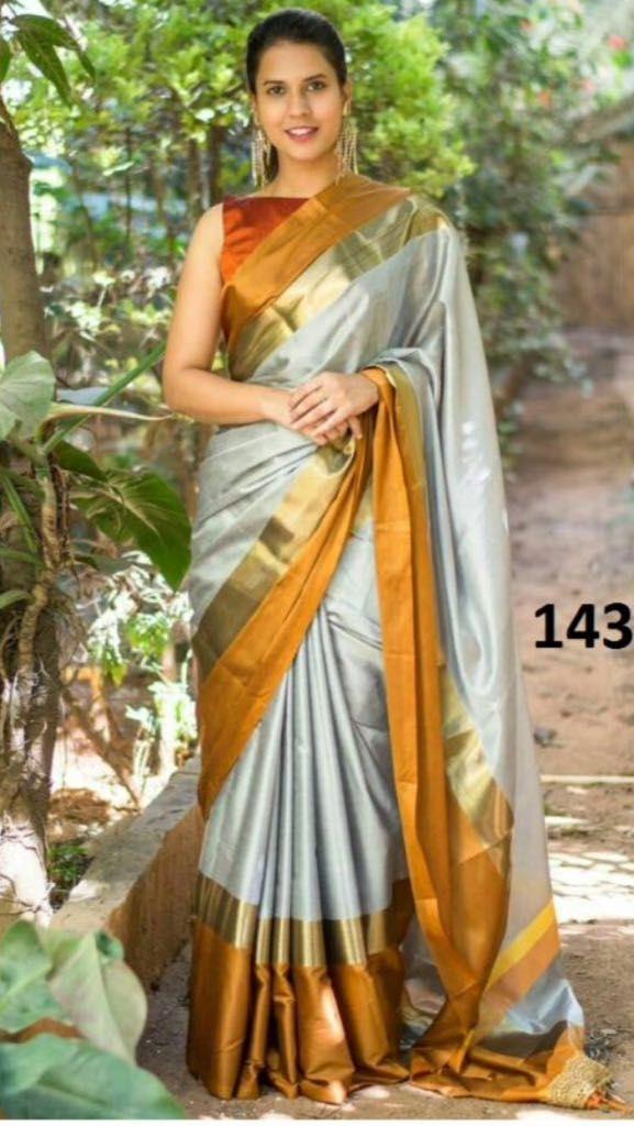 61a83c146ef New Latest Designer Grey Colour Satin Silk Indian Saree