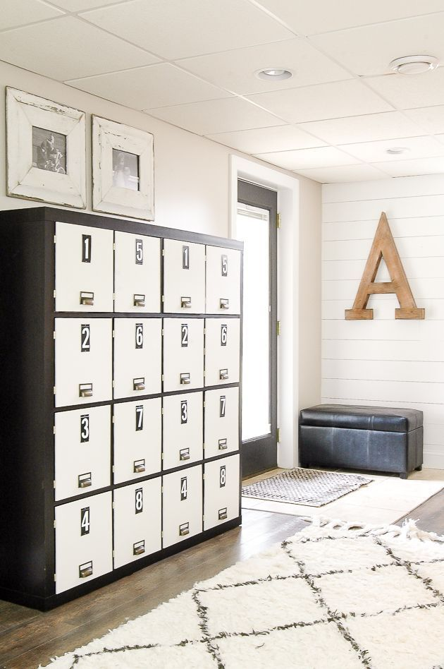 THIS IS AMAZING! An IKEA Expedit bookcase gets turned into a gorgeous set of lockers! Find the full tutorial at Littlehouseoffour.com