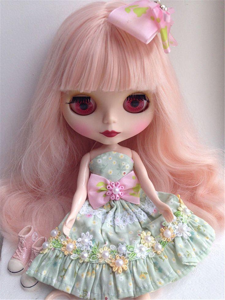 Blythe Nude Doll Factory Neo Blythe Custom Doll Matt Face dlouhé kudrnaté vlasy Pink | eBay