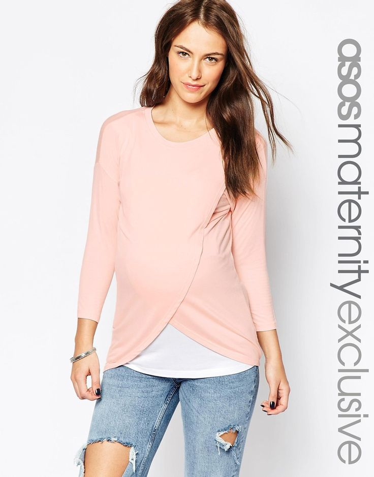 ASOS Maternity NURSING Top With Wrap Overlay And 3/4 Sleeve