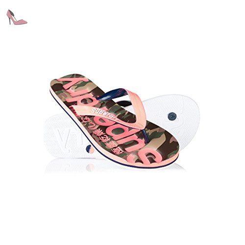 Classic Camo Flip Flop - Fluro Coral-Dark Navy-Optic - Chaussures superdry (*Partner-Link)