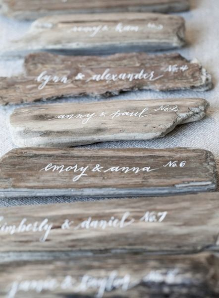 Driftwood - Beautiful and Creative Wedding Place Card Ideas - Photos