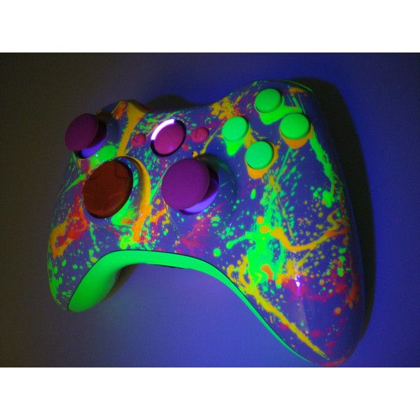 Neon Paint Ball Custom Xbox 360 Controller by ProModz ($169) ❤ liked on Polyvore