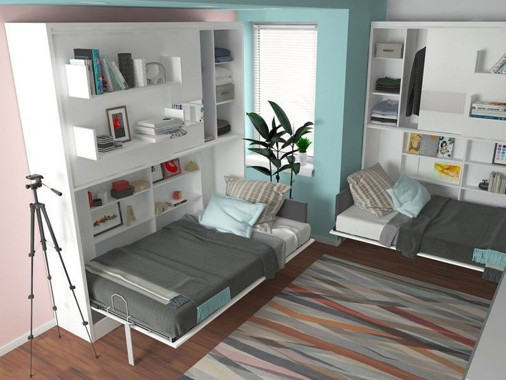 Twin size murphy bed with tons of additional storage.