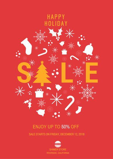 Christmas Holiday Sale Advertising Poster
