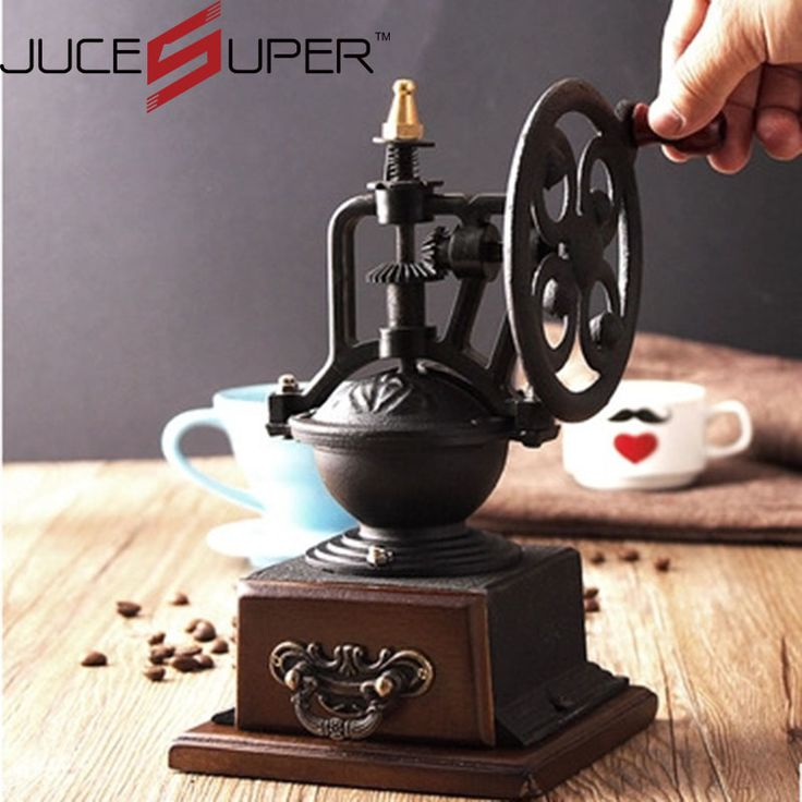 Vintage Wheel Coffee Machine Coffee Grinder Manual Wooden Coffee Mill For Home Decoration Ferris Wheel Design Can Adjust