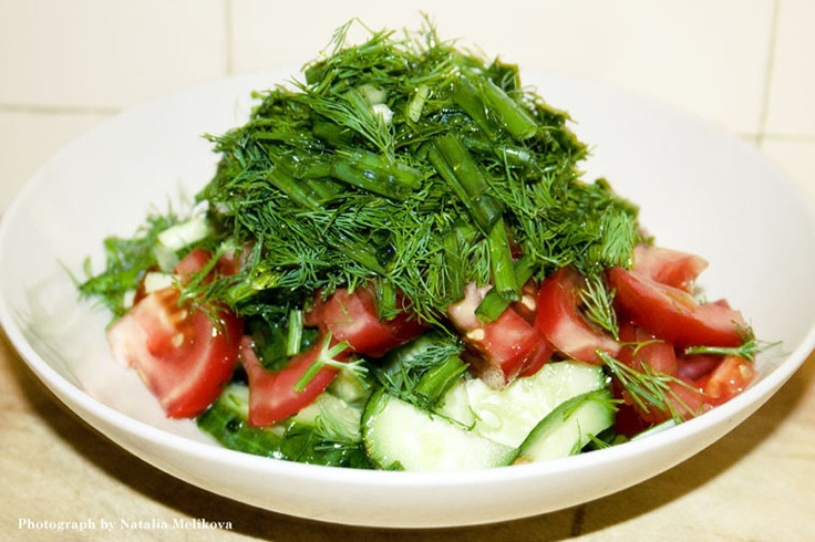 Cucumbers, Tomato and Dill  My favourite Russian salad!