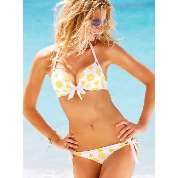 White and Yellow Eyelid Bikini Bottom Yellow and white. Brand new, no defects! Victoria's Secret Swim Bikinis