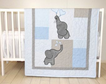 Baby Quilt Elephant Blanket Mint Blue Gray by Customquiltsbyeva