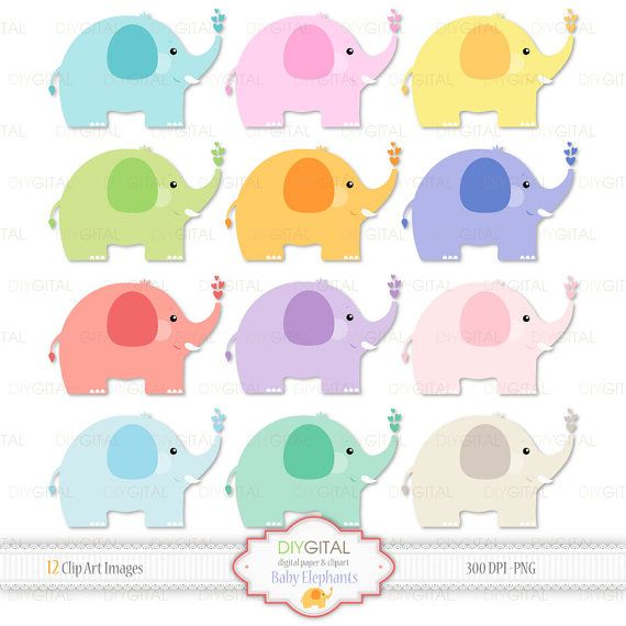 Baby Elephants Clip Art Set- 12 Colorful Baby Elephant images- Cute elephants- Baby shower-New baby- PNG transparent background