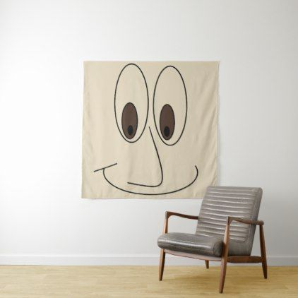 Big Smiley Face Drawing Fun Tapestry - drawing sketch design graphic draw personalize