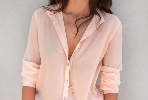 Fashion, Pink Blouses, Style, Soft Pink, Shirts, Blushes, Chiffon, Necklaces, Peaches