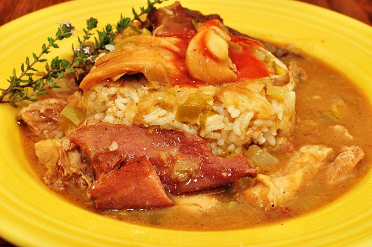 Spicy chicken gumbo with pickled pork and fresh vegetables