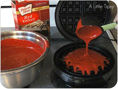 love the idea here presented of dessert waffles - using cake mix as waffle batter