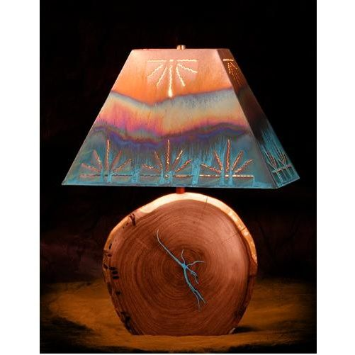Mesquite Lamp with Copper Shade WITH Turquoise Inlay