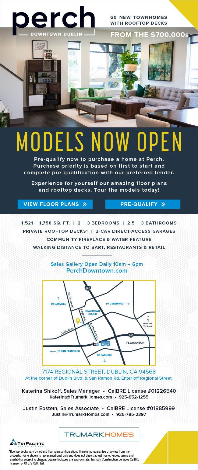 New Homes for Sale in Dublin, California  Models Now Open at Perch – Tour Today  Pre-Qualify Today |  You will Love the Private Rooftop Decks and walking distance to BART, Restaurants & Retail  http://perchdowntown.com/