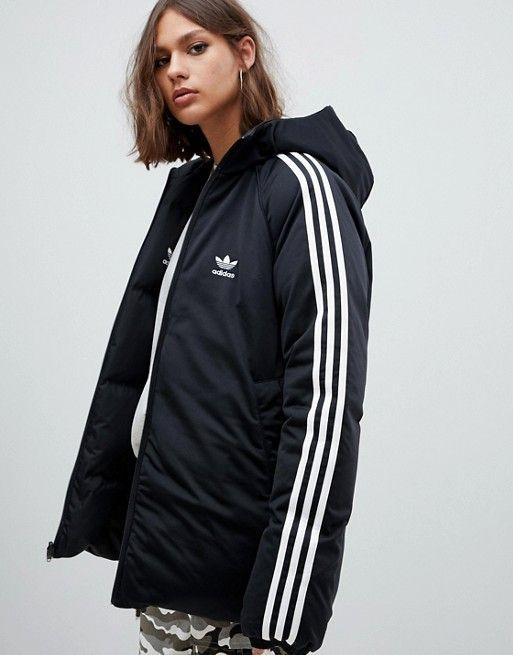 6b1dfccd adidas Originals Three Stripe Reversible Coat In Black in 2019 ...