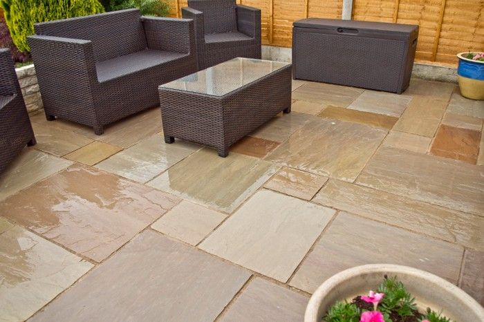 Autumn Brown Indian Sandstone Paving Slabs Natural Patio