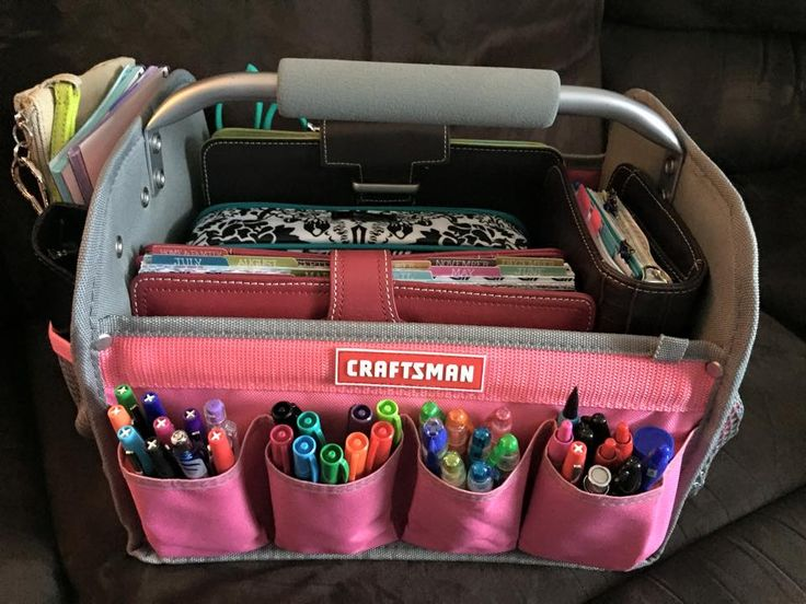Craftsman for planner or art journaling - I have this same pink tool bag... I think it was less than $10.