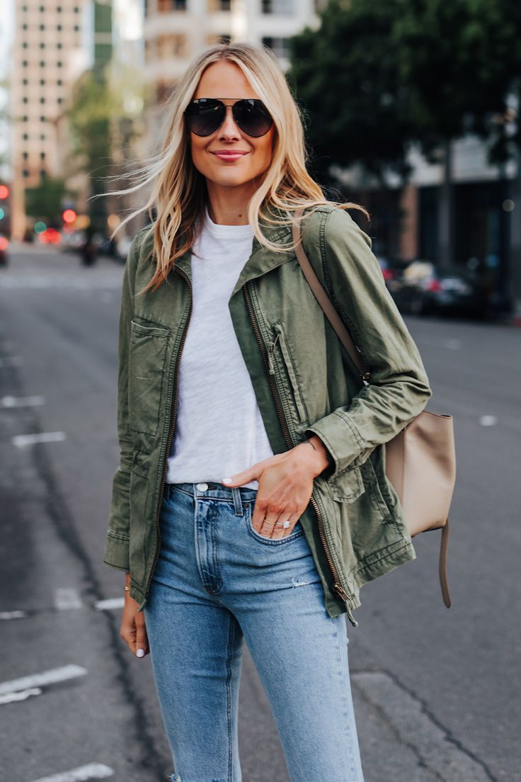 Fashion Jackson Wearing Madewell Green Utility Jac…