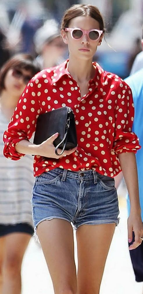 Red Polka Dot Button Up