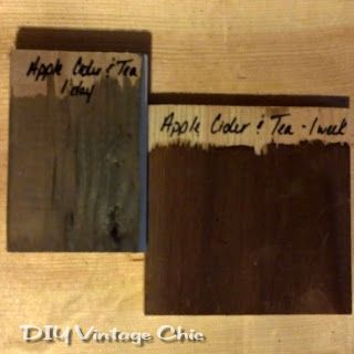 natural wood stain: apple cider vinegar mixed with steel wool and tea.