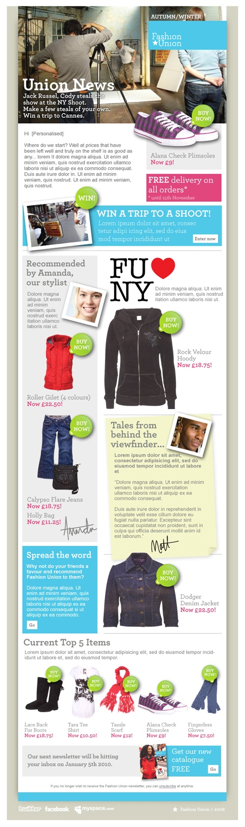 Beautiful Email Newsletters » Blog Archive » Fashion Union