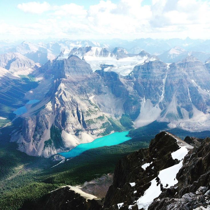 A view most people never get to see. Moraine Lake, Alberta , Canada (from the summit of mount Temple ) (2048x1357) - Imgur