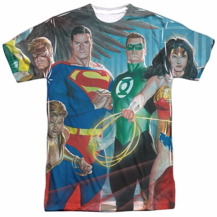Justice League Of Heroes Alex Ross Sublimation Poly Adult Shirt S-3XL | eBay