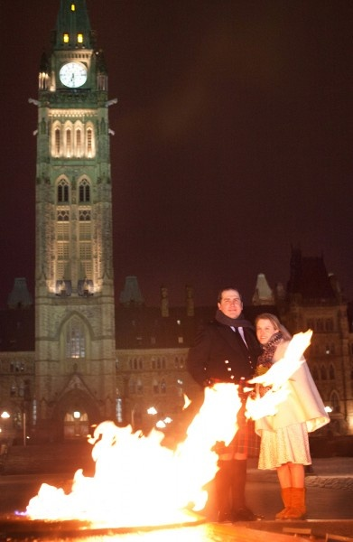 Winter Wedding in Ottawa by Ottawa Photographer Paul Couvrette. This was shot at minus 25 degrees on Parliament Hill.