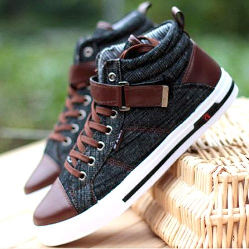 Baskets Homme fashion Sneakers Jean denim Casual shoes Noires