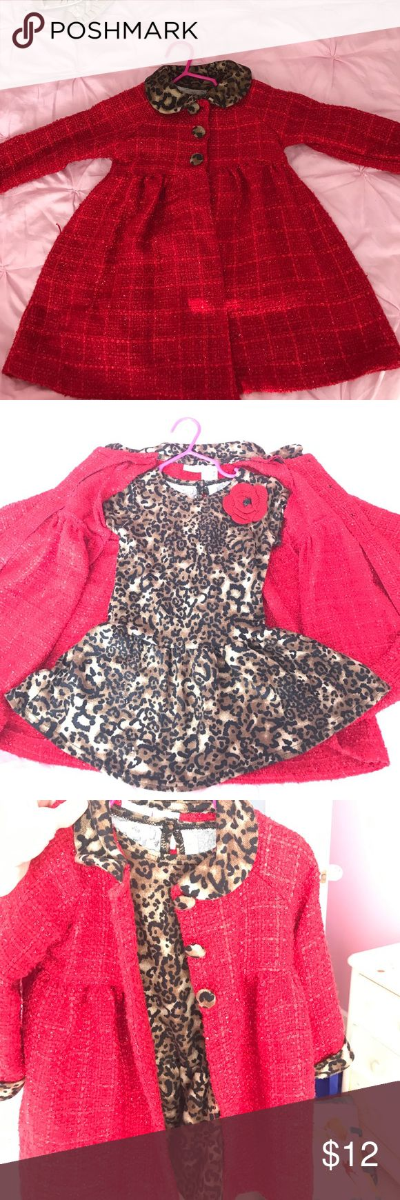Red Coat and Cheetah Dress 24 Month red coat and cheetah dress. Super cute combo! Sweet Heart Rose Dresses
